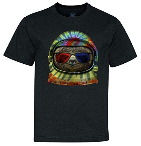 Youth T-Shirt: Sloth Astronaut 3D Glasses Black Medium (10-12)