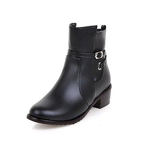 PU Low Women's Heels Closed Round Toe Black Zipper Boots Kitten WeiPoot top aA808