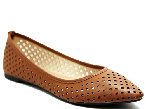 (Walstar Women's Perforated Slip On Comfortable Point Toe Flat Shoes)