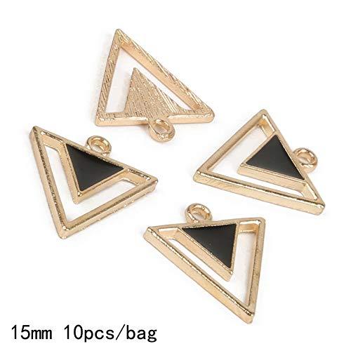 15mm Metal Zinc Alloy Enamel Charm Double Triangular Nesting Design Pendant for DIY Jewelry Earring Necklace Handmade Making - (Metal Black)