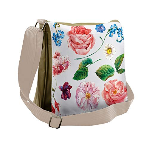 Ambesonne Floral Messenger Bag, Bouquet Set with Rose, Unisex Cross-body