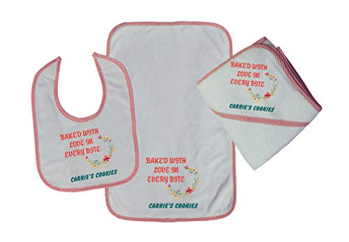 Personalized Custom Baked with Love Cookies Cotton Boys-Girls Baby Bib-Burb-Towel Set - Red, One Size