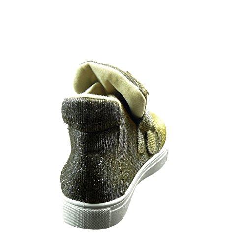 Angkorly - Zapatillas de Moda Deportivos altas mujer strass dorado brillante Talón Tacón ancho 2 CM - Oro