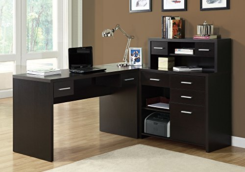 (Monarch Specialties Hollow-Core L-Shaped Home Office Desk, Cappuccino)