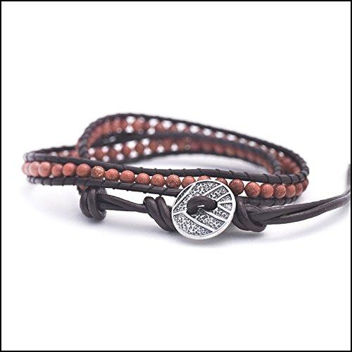 Bracelets Genuine Goldstone - Fresh Prints of CT Genuine Goldstone - Semi Precious Stones and Leather Wrap Bracelet