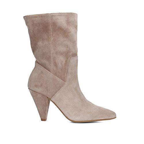 Kenneth Cole Suede Sandals (Kenneth Cole New York Women's Labella Midshaft Heel Bootie Fashion Boot, Buff, 7 M US)