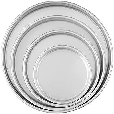 طقم صواني خبز دائرية مكون من 4 قطع فضي