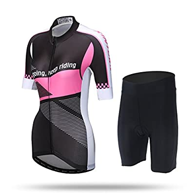 DuShow Multicolor Women's Short Sleeve Cycling Bike Bicycle Jersey 3D Padded and Shorts Set