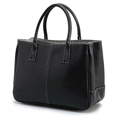 DELEY Mujer Simple Diseño Negocio Asa Superior Bolsa Oficina Hombro Bolso De Las Señoras Negro