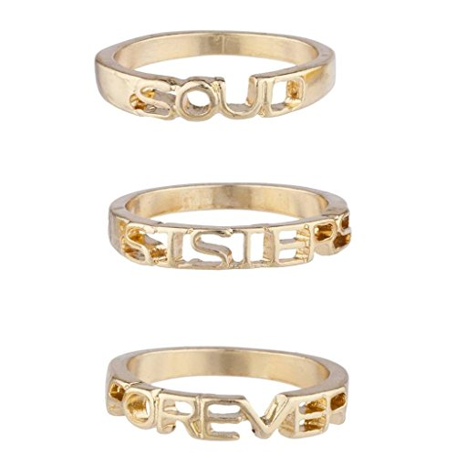 Lux Accessories Gold Tone Soul Sisters Forever BFF Best Friends Ring Set 3PC