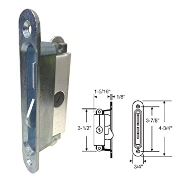 Sliding Glass Patio Door Lock, Mortise Type, 3 7/8u0026quot; Screw