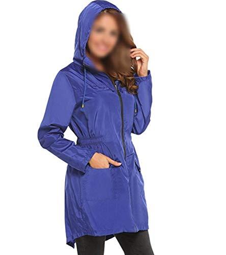Con Punto Blau Estaciones Capucha Para Mujer Chaqueta Joven Monocromático Ola Parka Impermeable Bolsillo Anaisy Hem Transpirable Cazadora Funcional Cuatro Lluvia De RfPn7ZTq