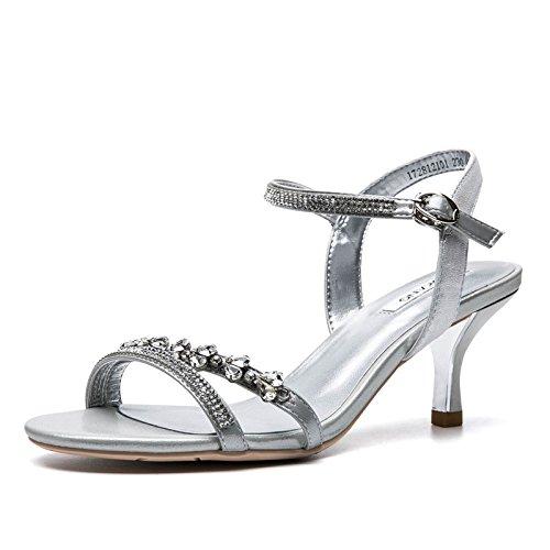 Verano De Cabeza Tacón Zapatos Silver Sandalias VIVIOO Zapatos Sandalias Sandalias Mujer Tacón De Alto Elegante Redonda Palabra De Mujer Mujer De De De De Alto Hebilla De De 8ZxapwHZn
