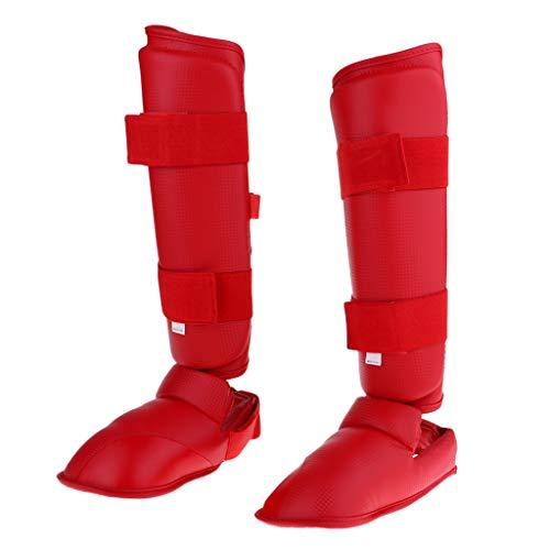 Prettyia Breathable Shin Instep Guard PU Leather Muay Thai MMA Kickboxing Foot Leg Protector - XS Red