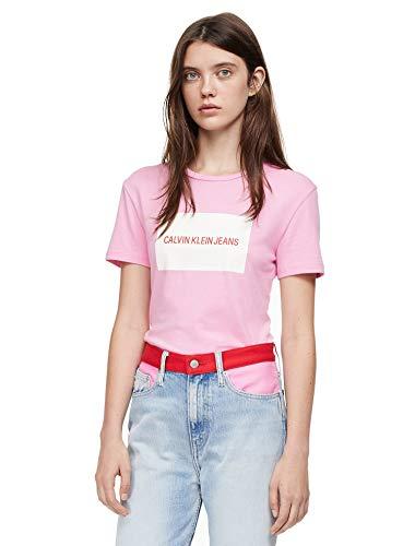 Calvin Klein Jeans Women's Institutional Box Logo Crew-Neck Short-Sleeve T-Shirt (Begonia Pink/Bright White, Small)