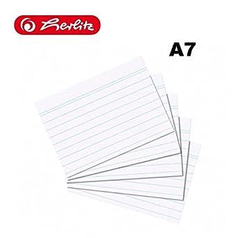 Ficha A7, a rayas, 800 unidades), color blanco DIN A7 | weiß liniert: Amazon.es: Oficina y papelería