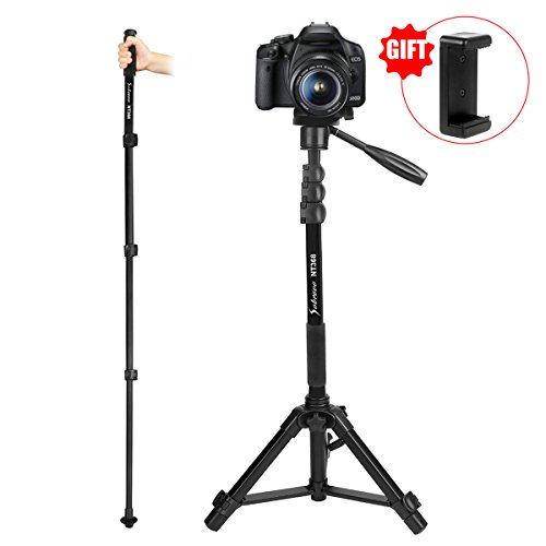 Camera Monopod Removable Aluminum 70'' Camera Tripod with Pan-Head for DSLR Camcorder Shooting Filming Quick Release Plate Max Load 5kg Including Carrying Bag by Sobrovo