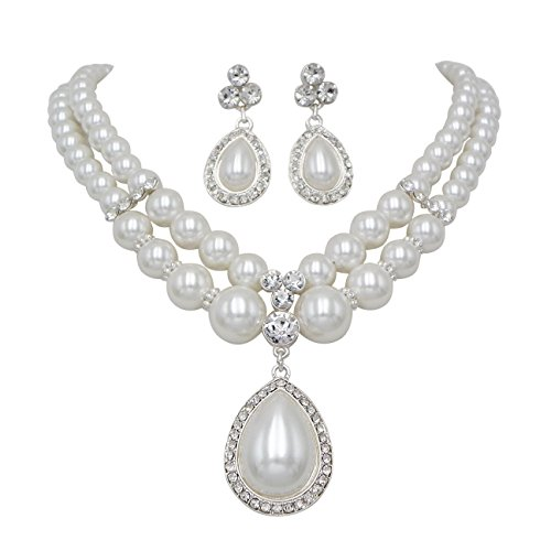 Rosemarie Collections Women's Elegant Double Strand Faux Pearl Teardrop Pendant Necklace Earrings - Drop Pearl Necklace Double