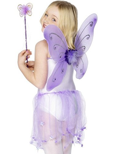 Smiffys Kids Butterfly Fairy Costume, Wings and Wand, Purple, One size, 29170