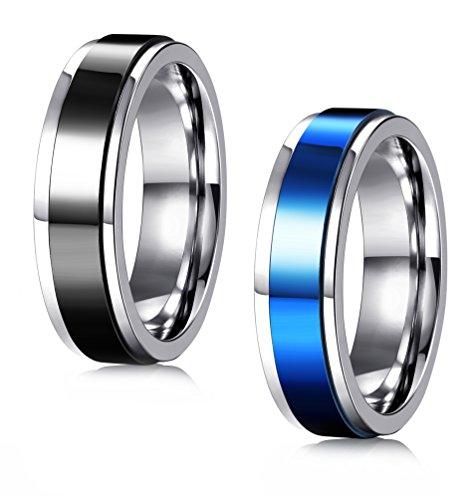 Spinner Ladies (JOERICA 2Pcs 6-8MM Stainless Steel Band Rings for Men Women Wedding Promise Simple Spinner Band 6)