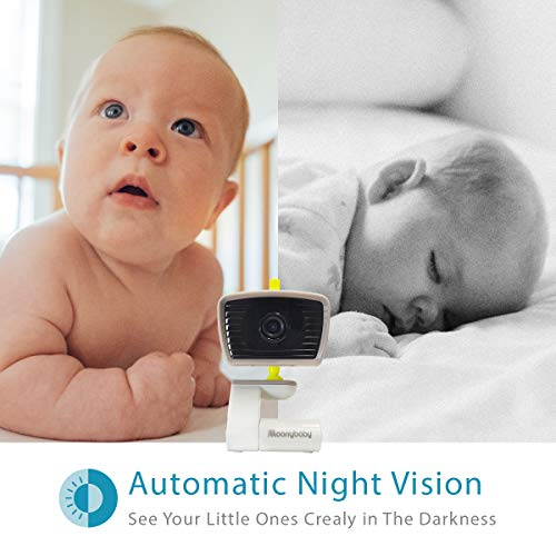 Moonybaby Wideview 50 Video Baby Monitor – Wide-Angle Night Vision, 5 Inch Split Screen, 2.4GHz, 2-Way Audio & Lullaby…