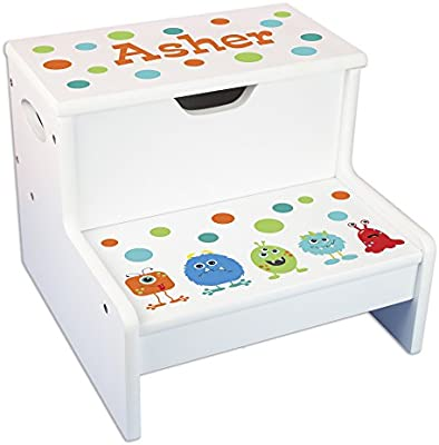 Astounding Amazon Com Personalized Monster Storage Step Stool Baby Ibusinesslaw Wood Chair Design Ideas Ibusinesslaworg