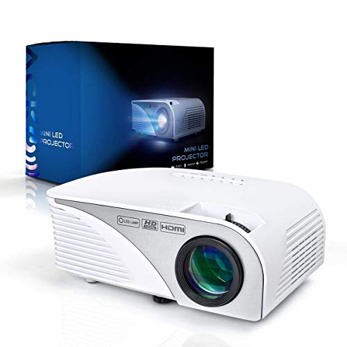 Mcwell Portable Mini HD LED Video Projector Office Home Theater 1200 LM Multimedia Outdoor 20-150 HDMI VGA USB AV SD Audio 1080P Smart Phone Tablet PC Computers Laptops White