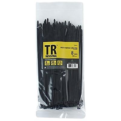 "TR Industrial TR88302 Multi-Purpose Cable Ties (100 Piece), 8"", Black by Capri Tools"