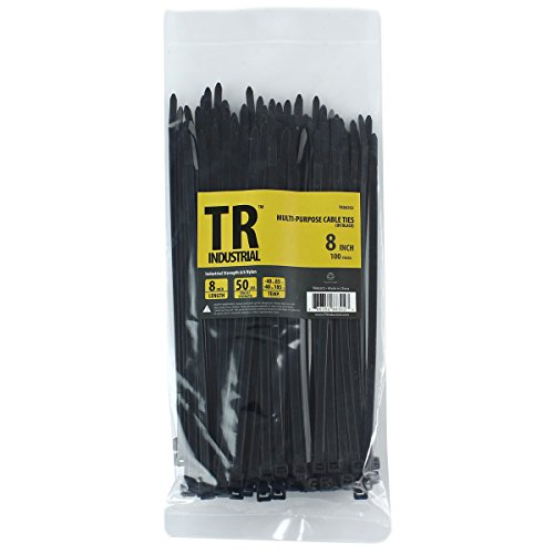 TR Industrial TR88302 Multi-Purpose Cable Ties (100 Piece), 8″, Black