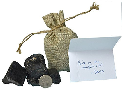 35 Main Gifts Real Lump of Coal in 4x6 Fancy Burlap Bag with Handwritten Naughty List Gift Card