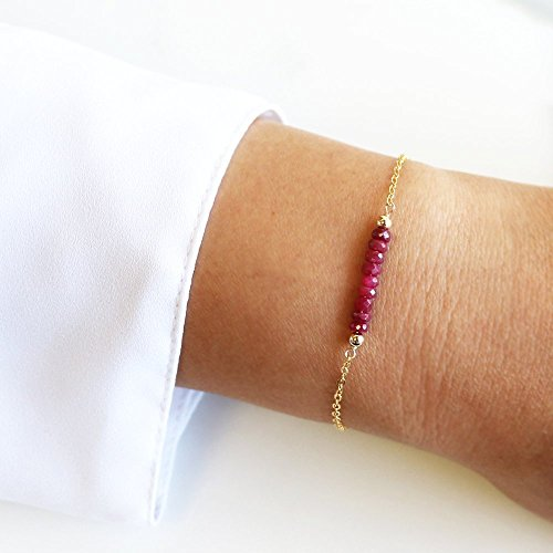 Gemstone Birthstone Bracelet - Bridal Wedding Bride Bridesmaid-Simple Minimal-14k Gold Filled, Rose Gold Filled, Sterling Silver - ()