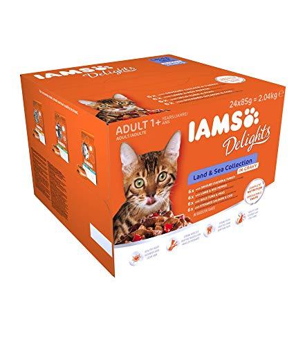 Iams Delights Land & Sea Collection Katzenfutter Nass – Multipack mit Fleisch und Fisch Sorten in Sauce, Nassfutter für…