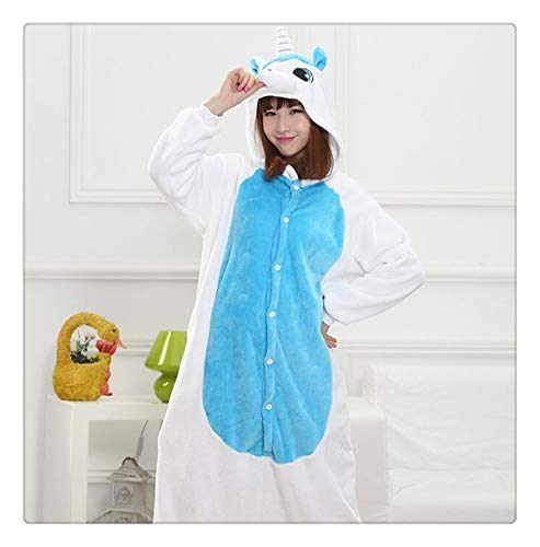 Animal Stitch Star Unicorn Pikachu Onesie Adult Unisex Cosplay Costume Pajamas Sleepwear for Men Women Xmas H Blue Unicorn S ()