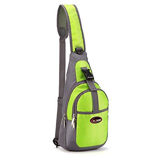 Q4Travel Sling Bag Backpack, Waterproof Rucksack Crossbody Daypack for Hiking or Sports. (Light Green)