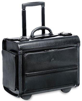 Mancini Wheeled Leather Catalog Case - Black