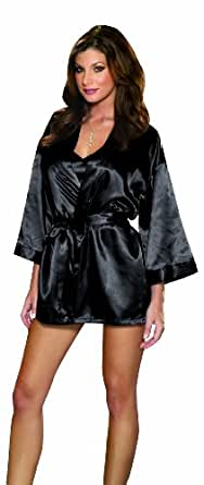 Dreamgirl Women's Shalimar Charmeuse Babydoll with Robe and Padded Hanger, Black, Small