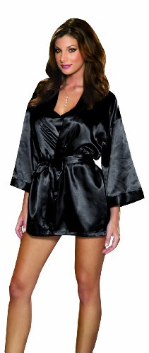 Free Dreamgirl Women's Plus-Size Shalimar Charmeuse Chemise with Robe and Padded Hanger,Black,3X/4X