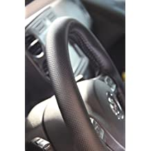 "Circle Cool Black PVC Leather Steering Wheel Cover Wrap w/ Needle & Thread 14"" Diameter 4"" Grip Circumference 47004"