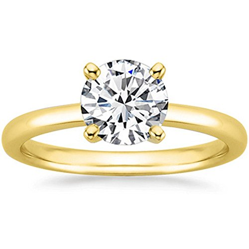 18K Yellow Gold Round Cut Solitaire Diamond Engagement Ring (2 Carat J-K Color SI2-I1 Clarity)