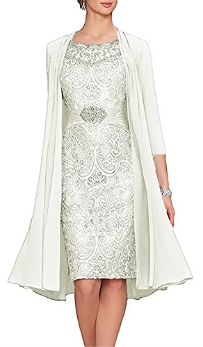 Everbeauty Formal Tea-Length Lace Mother of The Bride Dresses with Chiffon Shwal