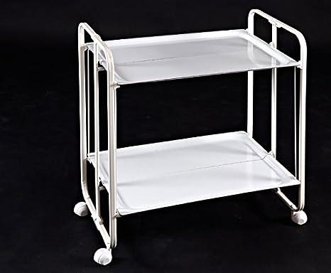 Carrito Camarera Plegable armazón metálico Color Blanco Dos bandejas Blancas: Amazon.es: Hogar
