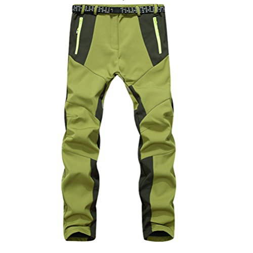 Zhhlinyuan Mujeres Fleece Softshell Warm Riding Skiing Climbing Hiking Outdoor Pants Trousers Green