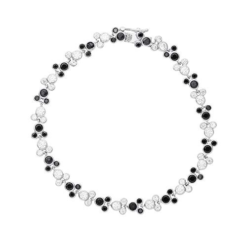 Disney Mickey Mouse Jewelry, Sterling Silver Black and Clear Cubic Zirconia Tennis Bracelet, Mickey's 90th Birthday Anniversary