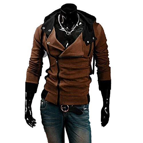 2018 Casual Cardigan Men Hoodie Sweatshirt Long Sleeved Slim Fit Male Zipper Hoodies Assassins Creed Jacket Plus Size M-6XL,Medium,Brown ()