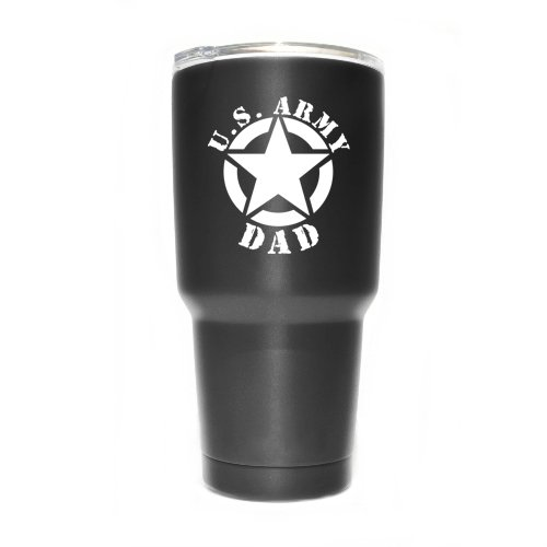 Army Dad Star Vinyl Decal Sticker ( 2 Pack!!! ) | Yeti Tumbler Cup Ozark Trail RTIC Orca | Decals Only! Cup not Included! | White | 2 - 3 X 2.7 inch | KCD1802W ()
