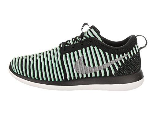 Nike Kids Roshe Deux Flyknit (gs) Chaussures De Course Vert Lueur / Argent Métallique