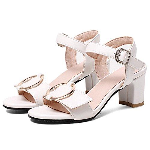 Zapatos blancos de punta abierta étnicos para mujer eeVa2W9
