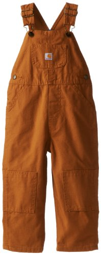 (Carhartt Little Boys' Washed Canvas Flannel Lined Bib Overall, Carhartt Brown, 3T)