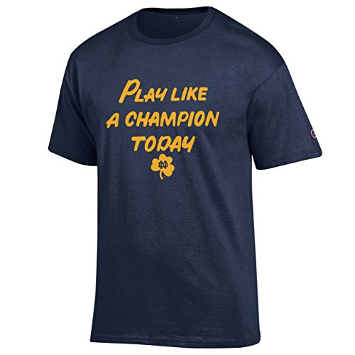 Notre Dame University Football - Notre Dame Fighting Irish Adult Play Like a Champion T-Shirt - Navy , X-Large