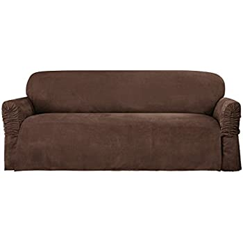 Sure Fit Faux Suede   Sofa Slipcover   Chocolate (SF38885)